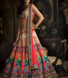 Buy Multicolor printed silk semi stitched lehenga wedding-season-sale online