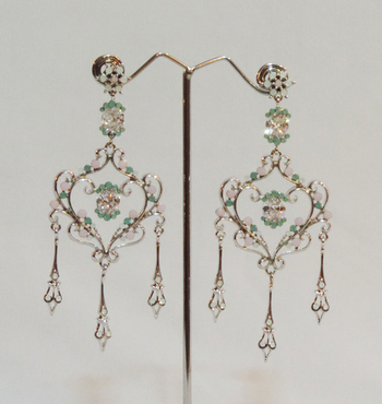 Pastel Silver Plated Chandelier Earrings