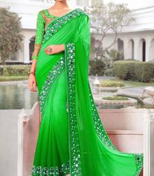 Buy Green plain georgette saree with blouse below-1500 online