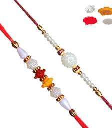 Buy Set of Two Premium Pearl Rakhi set pearl-rakhi-design online