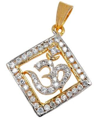 Exquisite Gold American Diamond Om Pendant