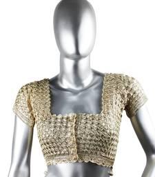 Buy Bewitched Zari Crochet Blouse | Copper Zari readymade-blouse online