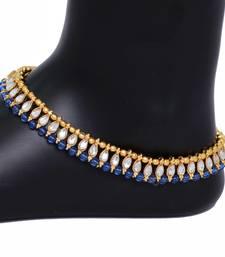 Buy Stylish Designer Blue Color Crystal Anklets anklet online