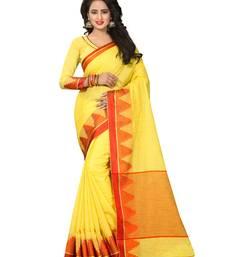Buy Yellow printed jute saree with blouse jute-saree online