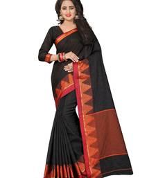Buy Black printed jute saree with blouse jute-saree online