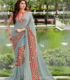 Buy grey printed georgette saree with blouse printed-saree online
