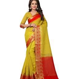 Buy Mustard printed jute saree with blouse jute-saree online