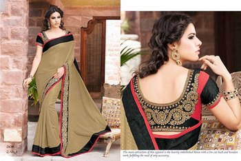 Styloce Beig,black Georgette Embroidery Stone Work Saree-STY-2108