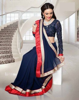 Styloce Black Georgette Beautiful Designer Saree-STY-V2215