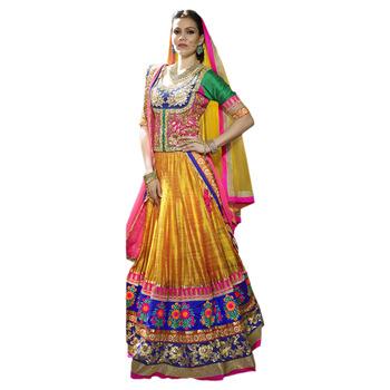 Khwaab Orange Bhagalpuri Silk Sheesha1007