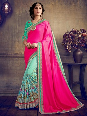 Hot pink embroidered art silk saree with blouse