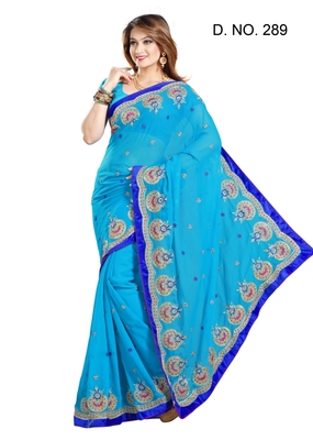 FIROJI FAUX CHIFFON PARTY WERE SAREE WITH BLOUSE