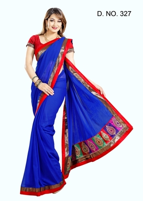 ROYAL BLUE FAUX CHIFFON PARTY WERE SAREE WITH BLOUSE
