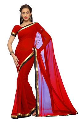 Dark Red Printed Faux georgette Saree With Blouse (1515)
