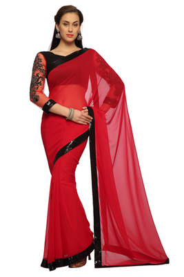 Deep Red Embroidered Faux georgette Saree With Blouse (1529)