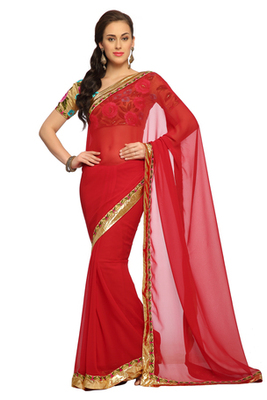 Red  Embroidered Faux georgette Saree With Blouse (1532)
