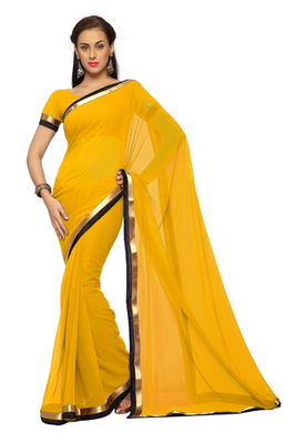 Yellow Printed Faux georgette Saree With Blouse (1540)