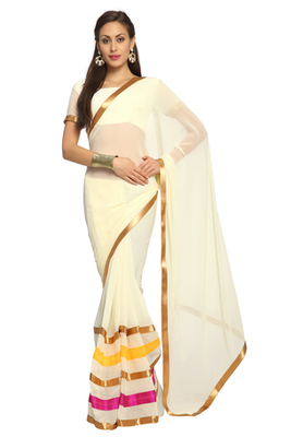 Off white Printed Faux georgette Saree With Blouse (1544)