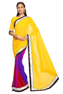 Multicolor Embroidered Faux georgette Saree With Blouse (1547)