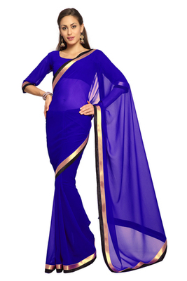 Dark Blue Printed Faux georgette Saree With Blouse (1556)