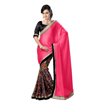 Hypnotex Pink Grey Embroidered Georgette Crepe Saree With Blouse