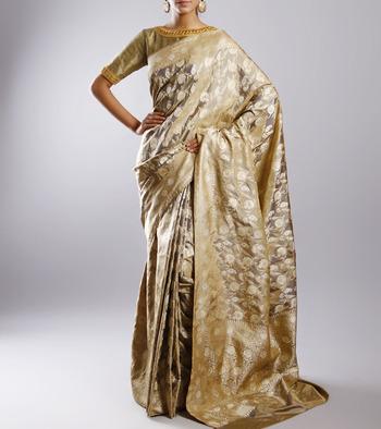 Beige color Pure Silk Banarsi Sari without blouse