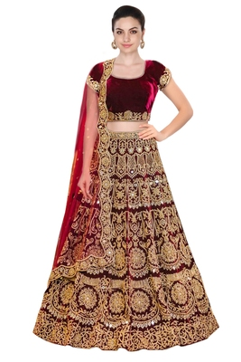 Rozy Fashion Maroon embroidered velvet semi stitched lehenga with dupatta