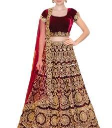 Buy Rozy Fashion Maroon embroidered velvet semi stitched lehenga with dupatta lehenga online