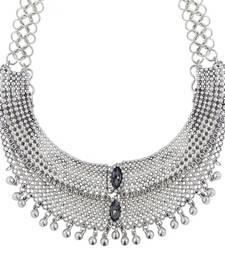 Buy Bridal Antique Tribal Afghani Bohemian Oxidised German Silver Heavy Choker Necklace Girls Women Necklace online