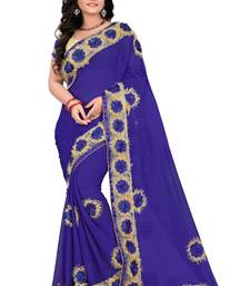 Buy Royal blue woven chiffon saree with blouse great-indian-saree-festival online