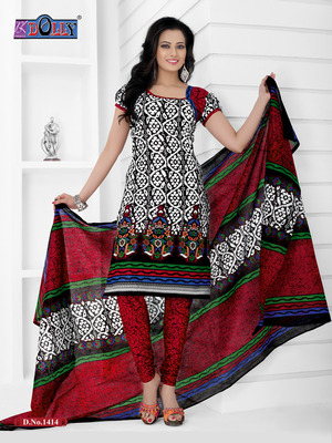 Gray Embroidered Cotton Un-Stitched Printed Salwar Kameez