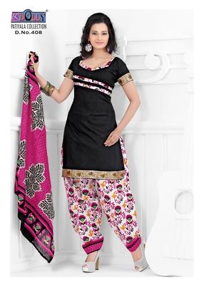 Black Embroidered Cotton Un-Stitched Printed Salwar Kameez