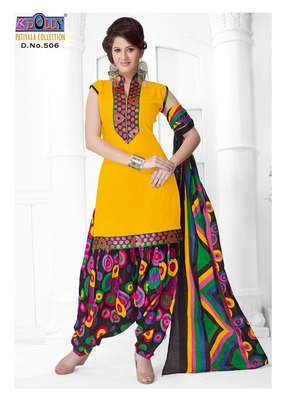 Yellow Embroidered Cotton Un-Stitched Printed Salwar Kameez