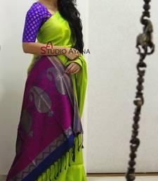 Buy Green printed silk saree with blouse art-silk-saree online