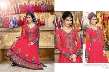 Red Georgette Semi stitched Anarkali Salwar Suit