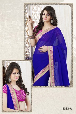 ROYAL BLUE ELEGANT SAREE WITH EMBROIDERED LACE & BLOUSE