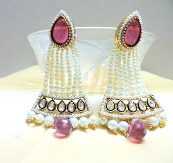 red pearl jhumar danglers