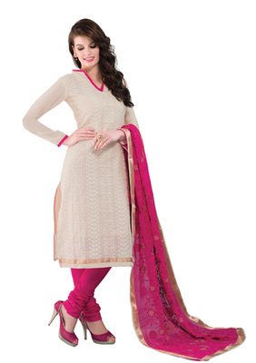 Fawn & Pink unstitched churidar kameez with dupatta-Belaa-48002