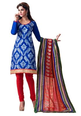 Blue & Red unstitched churidar kameez with dupatta-Lashk-46004