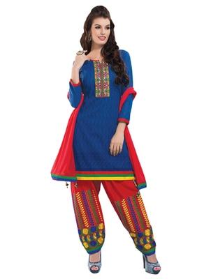 Blue & Red unstitched churidar kameez with dupatta-Maskaa-47006