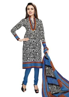 White & Blue unstitched churidar kameez with dupatta-VN-769
