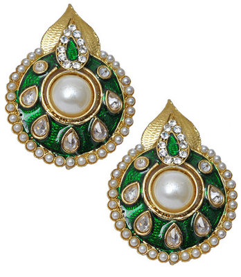 Artistic Green Meenakari Push-Back Stud Earrings