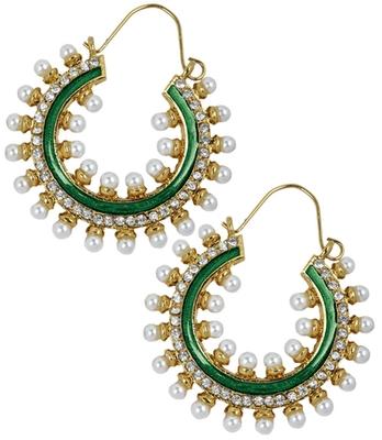 Posh Green Pearl Push-Back Hoop Earrings