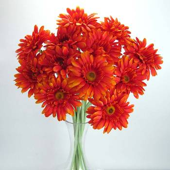 Artificial Gerbera - 12 stems - Orange