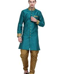 Buy Rama And Gold Plain Sherwani For Men gifts-for-brother online