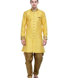 Buy Yellow And Gold Plain Sherwani For Men gifts-for-brother online