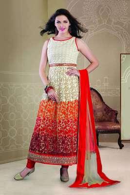 Elegant Orange, Red & Maroon thread embroideried designer Anarkali - SL2041