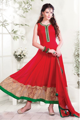 Red Ankle Length Georgette Flared Anarkali with pretty boat neck-SL2636-red