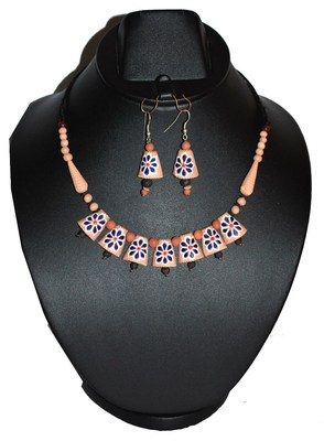 Handmade Terracotta Colourful Terracotta Necklace Set