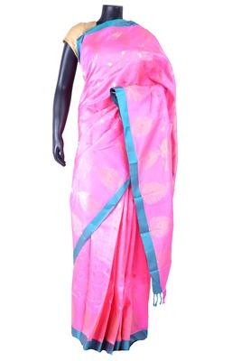 Pink silk zari butta worked saree with pink zari woven pallu - SR5200